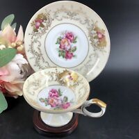 Antique Del Mar Tea Cup Saucer 24k Gold Japan Hand Painted Porcelain Wood Stand