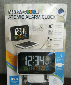 -NOP- La Crosse Technology Multi-Color Atomic Alarm Clock with USB Charging