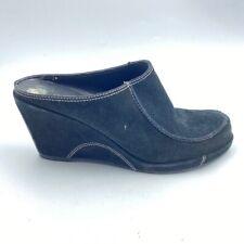 Franco Sarto Womens Awin Mule Shoes Black Slip On Moc Toe Wedge Heels 8 M