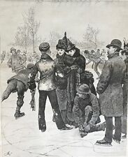Ice Skating. Pond. Winter. An Adept At The Art Of Skating 1888. Large Engraving.