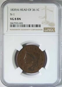 1839/6 Head of 36 Coronet Head Large Cent N-1 NGC Graded VG8 Rare Overdate
