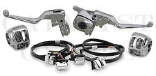 """COMPLETE CHROME HAND CONTROLS WITH CHROME SWITCHES FOR HARLEY 96-06 (48"""" WIRES)"""
