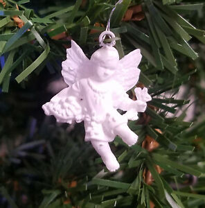 """Lot 12 Vintage Miniature 1-1/4"""" White Angel with Vine Craft Christmas Ornaments"""