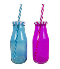 Glass Mini Milk Bottles Pack of 4 With Straws Drinks Party Tableware Lid