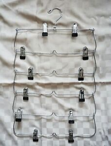 6 Tier Foldable Pants Skirt Hanger Stainless Steel Fold up Space Saving