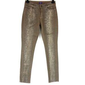 NYDJ Jeans Pantaloni Donna Jeans da Donna Leggings Braun Tierdruck Nuovo