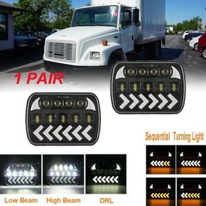 "For FREIGHTLINER FL 50 60 70 80 LED HEADLIGHTS Sequential Turn 7x6"" HI/LO DRL"