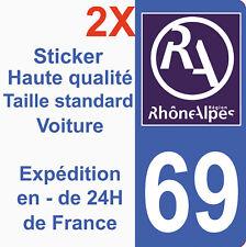 Sticker autocollant vinyle Immatriculation département 69 Région Rhone Alpes HQ