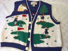 Women's Christopher Banks Knitted Embroidered Golf Sweater Vest Golf Cart M