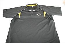STRONGBOW Polo 1/3 Button Front Black Yellow Short Sleeve Casual Shirt Men 2XL