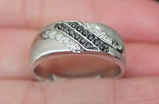 New 10k Mens 1/4ct White & Black Diamond Wedding Band Ring White Gold Sz10.25