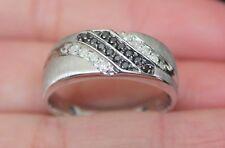 New 10k Mens 1/4ct White & Black Diamond Wedding Band Ring White Gold Sz10.25