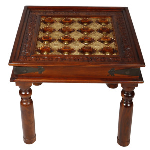 Mogra Antique Brass Work Solid Wood End Side Table  (Made To Order)