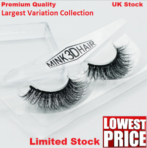 3D Mink Natural Thick False Fake Eyelashes hand made Lashes Makeup UK