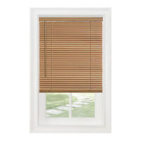"Cordless Window Minds Mini Blinds 1"" Slats Woodtone Vinyl Blind"