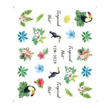 3 Sheets Tropical Bird Leaf Nail Art Sticker Water Transfer Decals Decorations