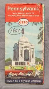 Vintage 1961 Esso Humble Oil Pennsylvania Road Map g30