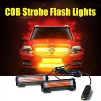 2X Car COB LED Strobe Hazard Emergency Flashing Warning Grill Lights Amber AU