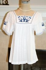 Madewell BoHo Embroidered Peasant Blouse Top Shirt S/S Pullover Sz S White &Blue