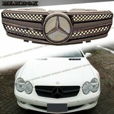 Fit 02-06 R230 SL Convertible Model Mist Matte Black MB Front Replaced Grille