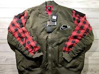 Nike NSW Bomber Jacket BV4532-325 Red Plaid Sportswear Olive Dark Army 3XL