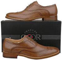 Mens New Brown Lace Up Leather Lined Formal Brogue Shoes Size 6 7 8 9 10 11 12