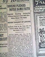 KNUTE ROCKNE Notre Dame Fighting Irish & COLLEGE FOOTBALL 1931 Old Newspaper