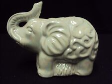 Elephant Figurine Glossy Pearl Light Gray Finish for Good Fortune 6 x 4.5