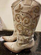 Stivali Camperos Donna Num 36 in pelle, beige, con paillettes colorate