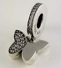 FLUTTERING BUTTERFLIES Authentic PANDORA Silver DANGLE Charm 791844CZ NEW w BOX