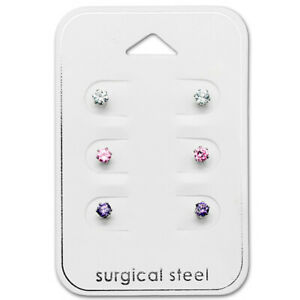 Silver Surgical Steel Crystal Stud Earrings 3 mm Clear Pink Purple Card 6 Pieces