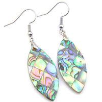 Handmade Jewelry Horse Eye Abalone Shell Gemstone Silver Dangle Hook Earrings