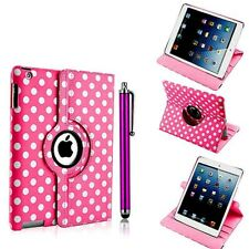 PINK POLKA PU LEATHER 360 DEG SMART STAND COVER CASE FOR IPAD AIR 2/ 6