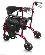 MEDLINE Excel Translator 2 IN 1 Transport Chair Combo Wheelchair Rollator Red