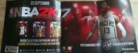 Double-sided Promo Poster : NBA2K17 Xbox One Playstation Ps4 2016 French Rare