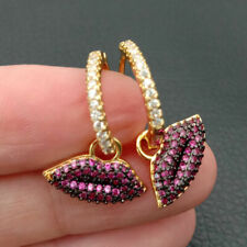 18k gold plated hoop earrings fuchsia cubic zirconia pave lip drop earrings