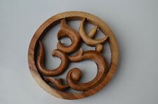 OM Hand Carved Suar Wood Wall Art 14.5 cm-Reduced
