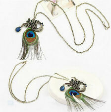 Vintage Retro Fashion Women Cute Peacock Pendant Sweater Long Chain Necklace