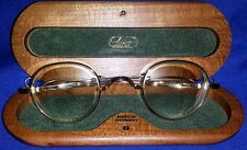 LUNOR Eyeglasses GOLD FRAMES Germany TELESCOPIC TEMPLES Wood Case EXCELLENT!