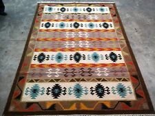 Diamond Pattern Multi Colored Large Wool Turkish Anatolian Kilim Area Rug 5x8 ft