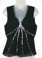 LINEA (UK12 / EU40) BLACK CHIFFON TOP WITH CRINKLED SILK OUTER AND SEQUIN TRIM