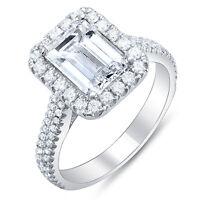 2.10 Ct Emerald Cut w/ Round Cut Halo Diamond Engagement Ring I,VS2 GIA 14K Gold