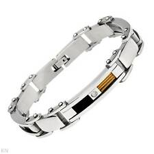 Beautiful Gentlemen's Bracelet With Genuine Crystal in Stainless steel 9 Inch