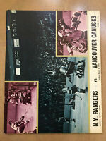 1971-72 NHL VANCOUVER CANUCKS @ NEW YORK RANGERS VINTAGE HOCKEY PROGRAM