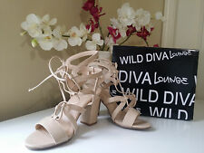 Wild Diva Lounge Jamie-34 Beige Open Toe Strappy LaceUp Chunky Heel Shoes Sz.7,5