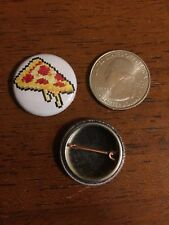 """8 bit 8-bit pizza pepperoni minecraft fanmade 1"""" pin / button king of buttons"""