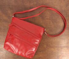 Vtg. Red Genuine Leather New York Shoulder Strap Purse