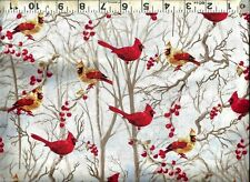 Timeless Treasures ~ Realistic Cardinals Birds ~ 100% Cotton Quilt Fabric BTY