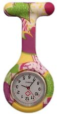 Silicone Nurses Brooch Tunic Fob Watch New With FREE BATTERY (Yellow + Purple)