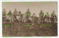 OLD POSTCARD MOTORCYCLE & SIDECAR GROUP REAL PHOTO VINTAGE 1910-20